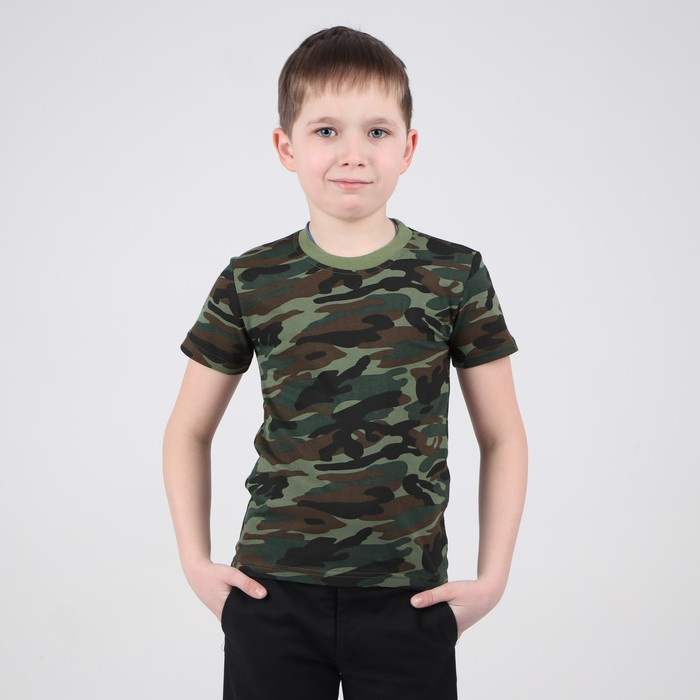 Футболка цветная детская, зелёный  хаки, 9 лет - фото 105521906