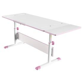Комплект растущая парта-трансформер Polini kids City D2 с боковой приставкой, 140х55 см, розовый