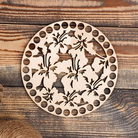 """The bottom for knitting """"Circle, flowers No. 1"""", the billet of plywood, 3 mm, size 15 cm"""