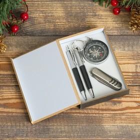Набор подарочный 4в1: 2 ручки, компас, нож 3в1, черный Ош