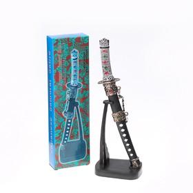 Сувенирное оружие «Катана на подставке», чёрные ножны с красными ромбами, 20см Ош