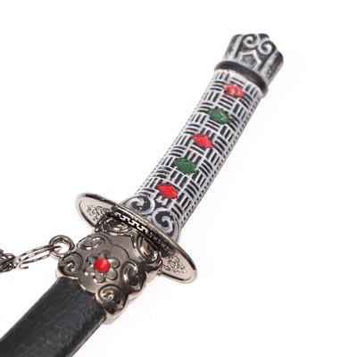 Сувенирное оружие «Катана на подставке», чёрные ножны с красными ромбами, 20см