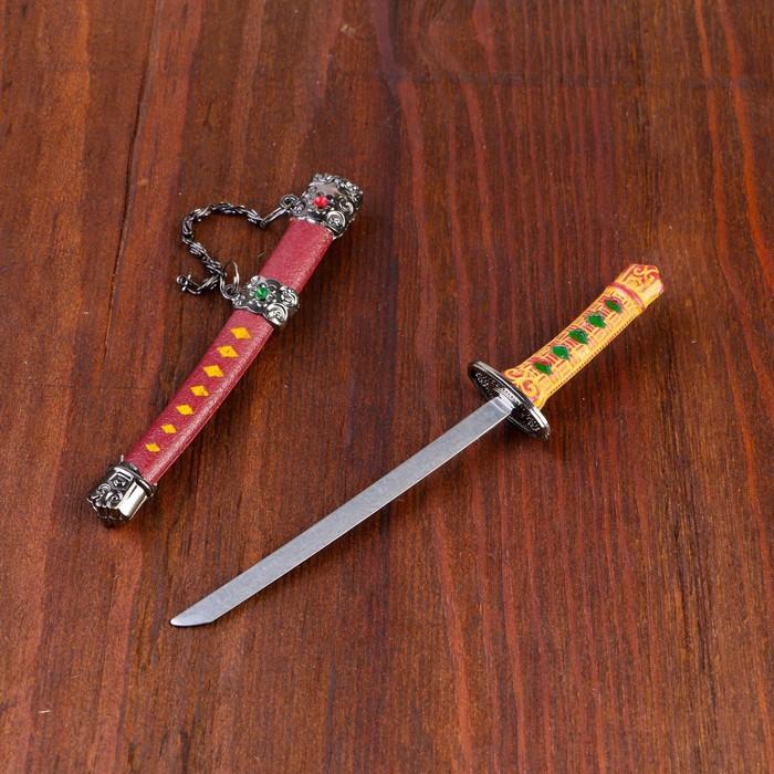 Сувенирное оружие «Катана на подставке», коричневые ножны, микс