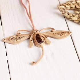 """Pendant """"Dragonfly"""",Jasper bark"""