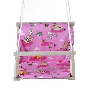 Качели детские подвесные с мягкой сидушкой и спинкой, деревянные, сиденье 28×34,5см Ош