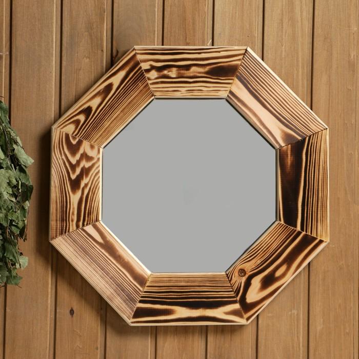 """Зеркало """"Восьмигранное"""", сосна, обжиг, 47×47 см"""