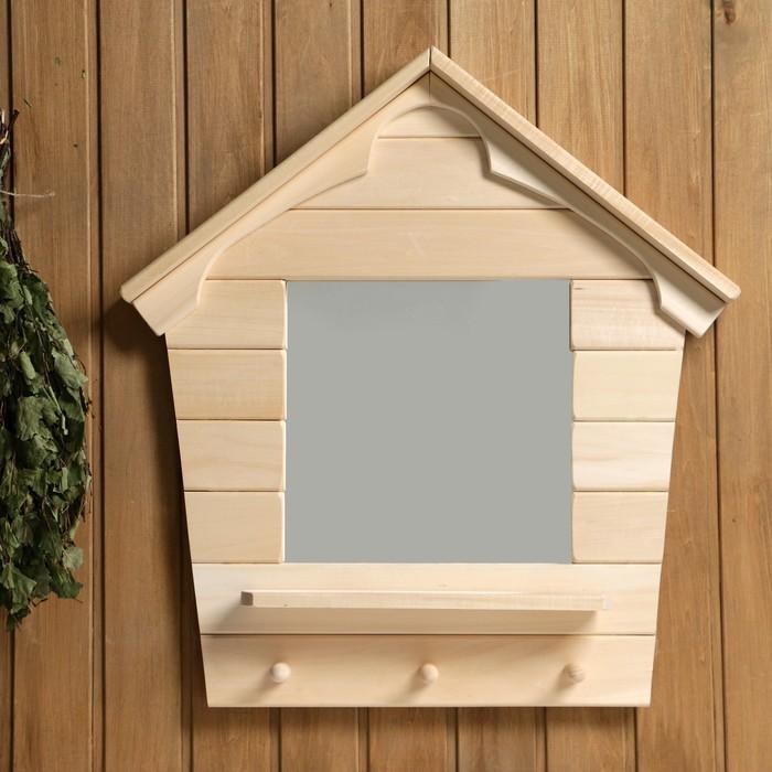 """Зеркало """"Теремок"""", сосна, натуральный, 65×43×10 см"""
