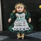 """Doll collectible ceramics """"Vasilisa in a dark green dress with apron"""" 30 cm"""