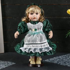 """Кукла коллекционная керамика """"Василиса в тёмно-зелёном платье с фартуком"""" 30 см"""
