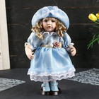 """Collectible ceramic doll """"Katyusha in a pale blue dress with a hat"""" 30 cm"""