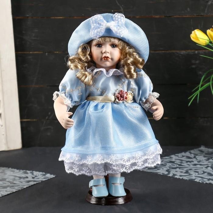 """Кукла коллекционная керамика """"Катюша в нежно-голубом платье со шляпкой"""" 30 см - фото 2218511"""