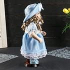 """Кукла коллекционная керамика """"Катюша в нежно-голубом платье со шляпкой"""" 30 см - фото 2218512"""