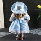 """Кукла коллекционная керамика """"Катюша в нежно-голубом платье со шляпкой"""" 30 см - фото 2218513"""
