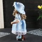 """Кукла коллекционная керамика """"Катюша в нежно-голубом платье со шляпкой"""" 30 см - фото 2218514"""
