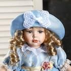 """Кукла коллекционная керамика """"Катюша в нежно-голубом платье со шляпкой"""" 30 см - фото 2218515"""