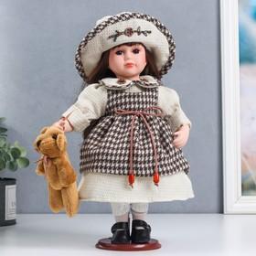 """Кукла коллекционная керамика """"Мариша в клетчатом платье со шляпкой"""" 30 см"""