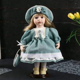"""Кукла коллекционная керамика """"Люда в платье цвета морской волны со шляпкой"""" 30 см"""