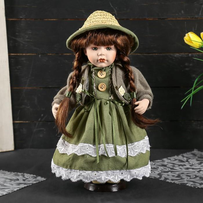 """Кукла коллекционная керамика """"Ириша в зелёном платье с жакетом и в шляпке"""" 30 см"""