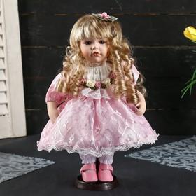 """Кукла коллекционная керамика """"Валечка в розовом платье с кружевом"""" 30 см"""