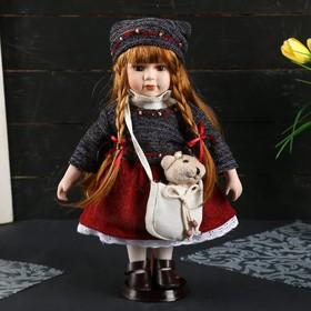 """Кукла коллекционная керамика """"Настенька в свитере и вязаной шапке с сумочкой"""" 30 см"""