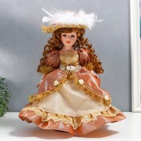 """Кукла коллекционная керамика """"Марго в карамельном платье в шляпе и с сумкой"""" 30 см"""