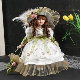 """Кукла коллекционная керамика """"Лидия в оливковом платье с цветами с зонтом"""" 30 см в Донецке"""