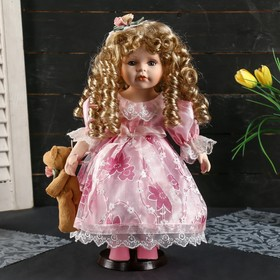 """Collectible ceramic doll """"Alina in pink dress with Teddy bear"""" 35 cm"""