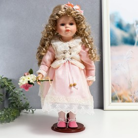 """Collectible ceramic doll """"Masha in pink dress with bouquet"""" 37 cm"""