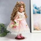 """Кукла коллекционная керамика """"Машенька в нежно-розовом платье с букетом"""" 37 см - фото 2218562"""