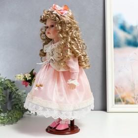 """Кукла коллекционная керамика """"Машенька в нежно-розовом платье с букетом"""" 37 см - фото 2218563"""