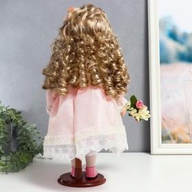 """Кукла коллекционная керамика """"Машенька в нежно-розовом платье с букетом"""" 37 см - фото 2218564"""