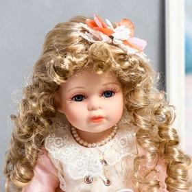 """Кукла коллекционная керамика """"Машенька в нежно-розовом платье с букетом"""" 37 см - фото 2218565"""