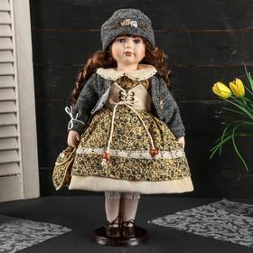 """Кукла коллекционная керамика """"Вика с цветочном платье, сером джемпере с сумочкой"""" 40 см"""