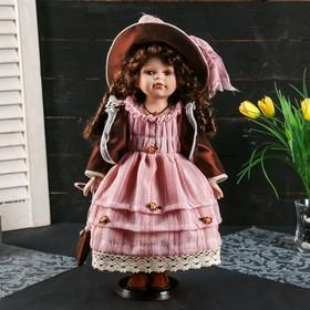 """Кукла коллекционная керамика """"Кристина в персиковом платье, шоколадном джемпере"""" 40 см"""