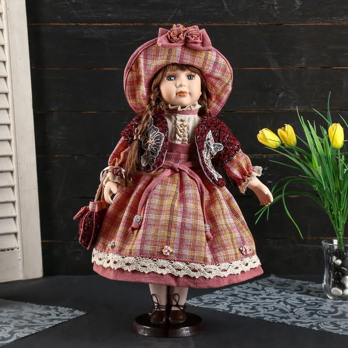 """Кукла коллекционная керамика """"Женечка в платье в клеточку, в шляпке и с сумочкой"""" 40 см - фото 2218586"""
