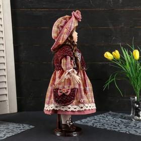"""Кукла коллекционная керамика """"Женечка в платье в клеточку, в шляпке и с сумочкой"""" 40 см - фото 2218587"""