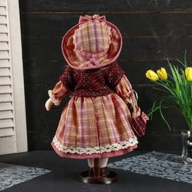 """Кукла коллекционная керамика """"Женечка в платье в клеточку, в шляпке и с сумочкой"""" 40 см - фото 2218588"""