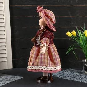 """Кукла коллекционная керамика """"Женечка в платье в клеточку, в шляпке и с сумочкой"""" 40 см - фото 2218589"""