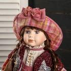 """Кукла коллекционная керамика """"Женечка в платье в клеточку, в шляпке и с сумочкой"""" 40 см - фото 2218590"""