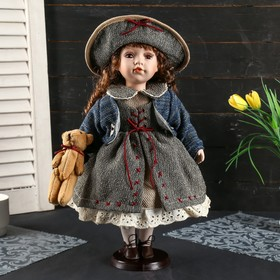 """Collectible ceramic doll """"Lily in vintage dress, with a hat and a Teddy bear"""" 40 cm"""