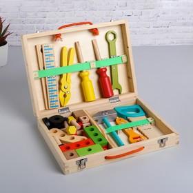 Развивающая игра «Набор плотника + конструктор в чемоданчике» 7×30×23 см, 33 элемента
