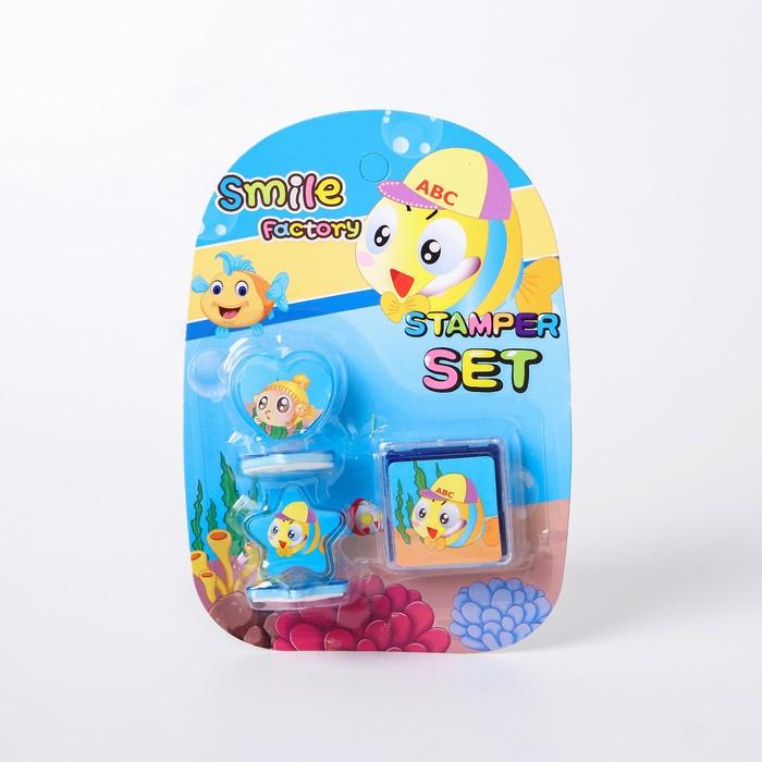 Набор печатей «Рыбки» 2 шт., штемпельная подушечка