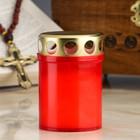 Свеча парафиновая поминальная в рубиновом подсвечнике, Н=9 см