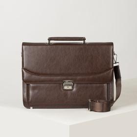 Портфель, 5 отделов на клапане, отдел для планшета, 3 наружных кармана, длинный ремень, цвет коричневый