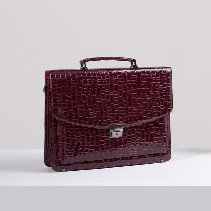 Портфель, 5 отделов на клапане, 3 наружных кармана, длинный ремень, цвет бордовый - фото 650407