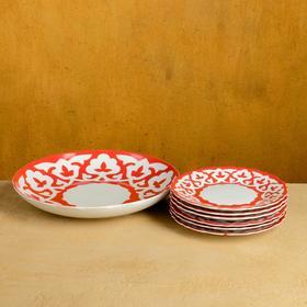 Набор для блинов Пахта красная 7 предм., тарелка 22см, 6 тарелок 17,5см