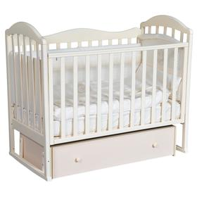Детская кровать «Кедр» Emily-1, универсальный маятник, фигурная спинка, ящик, цвет слоновая кость
