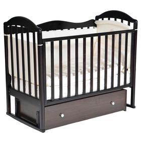 Детская кровать «Кедр» Emily-1 универсальный маятник, фигурная спинка, ящик, цвет шоколад
