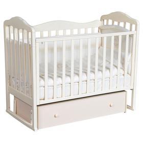 Детская кровать «Кедр» Helen-4, универсальный маятник, фигурная спинка, ящик, цвет слоновая кость