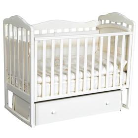 Детская кровать «Кедр» Helen-4, универсальный маятник, фигурная спинка, ящик, цвет белый